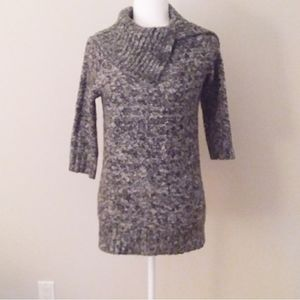 Roz & Ali Grey and White Tweed Bulky Sweater